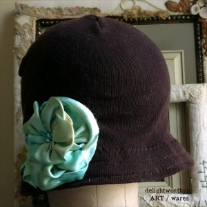brown cloche_blue flower 1
