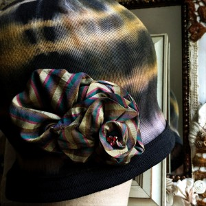 butterscotch shibori cotton cloche hat 2